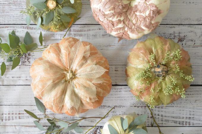 Leaf Embellished Pumpkins